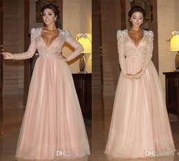 Wholesale Gorgeous Dresses V Neck Long Sleeve Baby Pink A Line Evening Wear Heavy Crystal Beaded Formal Celebrity Red Carpet Prom Evening Dress