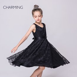 Wholesale black dresses for girls dresses party designer dresses V neck sleeveless style Belts decoration Lace fabric best chinese suppliers