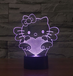 3D effect Hello Kitty 7 colors LED night light Touch Switch Decorative Talbe Lamp Novelty Lighting