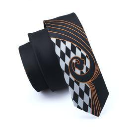 Black Narrow Tie Solid Black White Plaid Necktie 5.5cm Casual Neck Tie Slim Skinny Ties For Men Wedding Bridegroom Party Tie E-250