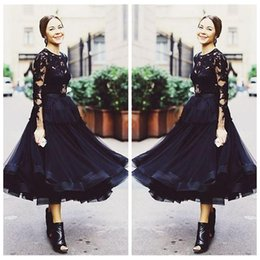 Wholesale Tea Length UK Fashion Black Illusion Long Sleeves Lace Appliques Evening Dresses Tulle Formal Wear Prom Party Gowns New