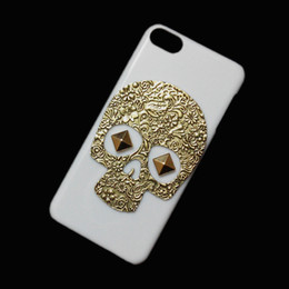 Unique Fashion Punk Rivet Spike Stud Studded Retro Metallic Bronze Skeleton Skull Hard Back Protective Case Cover for Apple Ipod Touch 6 6th