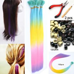 Wholesale 100pcs rainbow purple colour hair i tip extensions ball hair extension festival party hair Beads Hook plier kit