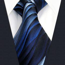 U23 Mens Ties Blue Gradual Change Ripple Silk Handmade Wedding Fashion Classic Brand New Dress Men's Accessories Necktie