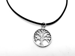 30PCS- Round Circle Tree of Life Necklace Chakra Family Tree Necklace Palm Prata Tree Leather Rope Necklaces