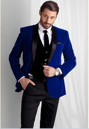 2016 New Designed Royal Blue Velvet Groom Tuxedos groommens suits Bespoke One button Groom wedding suits for mens Bestman's wedding suits