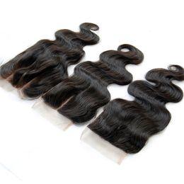Brazilian Peruvian Malaysian Indian Cambodian Body Wave Lace Closure 4*4 Unprocessed Virgin Human Hair Top Closures Free Middle 3 Way Part