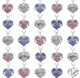 Wholesale Charms Flash Chinese Diamond Explosion Heart Love Pendant Necklace Daughter Mom Nana Hope Believe Teach Nurse Necklace Swarovski Elements