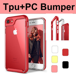 For iPhone 7 8 plus 6 6s Tpu PC 2 in 1 Hybrid Transparent shockproof cellphone Case Phone Cases Armor Frame Iphone8 Covers