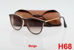 1pcs New Style Fashion Sunglasses For Mens Womens Erika Eyewear Designer Brand Sun Glasses Black Beige Gradient 52mm Lenses With Brown Case