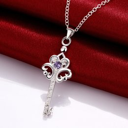 Brand new fashion flower shape 925 silver Pendant Necklaces STPN082B, best gift purple gemstone sterling silver jewelry necklace