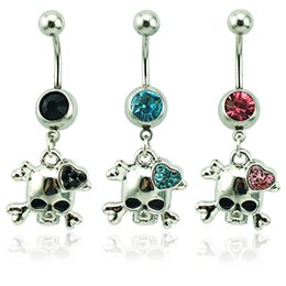Body Piercing Fashion Belly Button Rings 316L Stainless Steel Dangle Rhinestone Skull Heart Navel Rings Jewelry