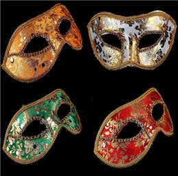 Wholesale BEST SELLING Half Face Mask Halloween Masquerade mask male Venice Italy flathead lace bright cloth masks PARTY MASKS FESTIVE