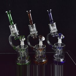 Wholesale Microscope Glass Bong Dual ChamberOil Rigs Rocket to UFO Perc Dab Oil Rigs Green Bule Amber Water Pipe Bongs Hookahs on Sale