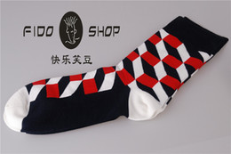 Wholesale FIDO Hot British style color men socks Cotton Sports Socks with Lycra elastic Geometric Skateboard Hiphop Male Socks