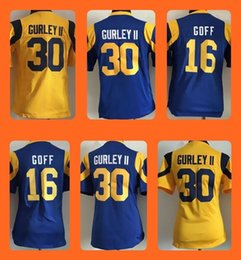 Wholesale Kids Youth Todd Gurley II Jared Goff Yellow Blue Top Selling Jerseys Top Quality Drop Shipping Accept Mixed orders