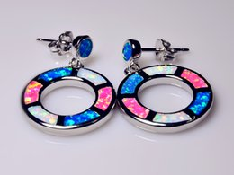 Wholesale Retail Fashion Blue Red White Fine Fire Opal Earrings Sterling Sliver Jewelry For Women EJL1528002