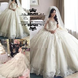 Luxury Princess Ball Gown Lace Wedding Dresses With Cathedral Train 2016 Long Sleeves Brisal Gowns Sexy See Through Back Vestido De Novias
