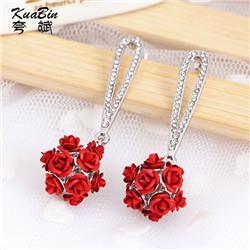 Wholesale Long Zircon Tassel Rose Flower Ball Stud Earring For Women Female Korean Earing Fashion Luxury Jewelry Hanging Earrings New