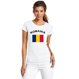 2016 Summer European Cup ROMANIA Football Fans Cheer Women T-Shirts Cotton Fitness Gym National Flag Printed Tee For Female