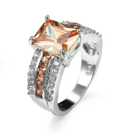 4 Colours Brand Gemstone Rings 18K Real Gold Plated Statement Silver Engagement Rings for Women Diamond Rings