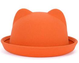 Fille chat cru en Ligne-2016 Nouveaux arrivages Femmes jolies oreilles de chat bouchons Mode laine douce billycock Vintage chapeaux pour les jeunes filles