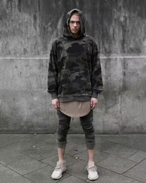 Men Oversized Camo Camouflage Hoodie Sweatshirt Hip Hop Swag Streetwear Kanye