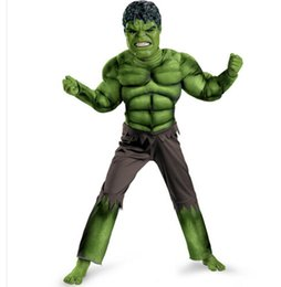 Wholesale Avengers Hulk Muscle Costumes for kids Fancy Dress Halloween Carnival Party Cosplay Theme Costume Boy Children Clothing Decorations Supplies