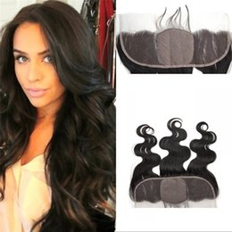 Wholesale Silk Base Frontal A Malaysian Human Hair Body Wave Lace Frontal With Baby Hair Bleached Knots