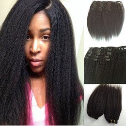 Promotion 18 black hair Clip dans les extensions de cheveux humains Cheveux brésiliens mongols de la Virginie de la Mongolie brute Kinky Straight, 7PCS 120G, Natural Black Clip In Human Hai