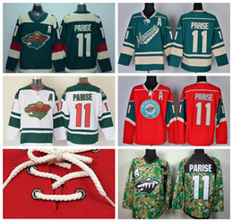 Minnesota Wild 11 Zach Parise Ice Hockey Jerseys Stadium Series Team Color Green Alternate White Red Camo Breathable For Sport Fans