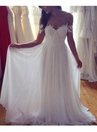 Simple elegant white chiffon wedding dress summer beach cheap bridal dress long lace off the shoulder wedding gown