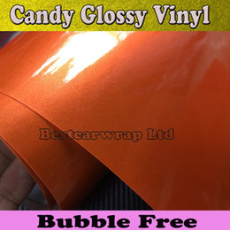 Premium Gloss Metallic Orange Vinyl Wrap With Air bubble Free Glossy orange Full Car Wrap covering tuning skin Size:1.52*20M Roll 4.98x66ft