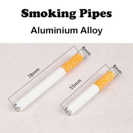 Wholesale Sharpstone Smoking Pipes Aluminium Alloy Metal Pipes Cigarette Shape Smoking Pipes mm mm Options