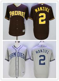 Promotion johnny maillots manziel # 2 Johnny Manziel San Diego Padres Maillots 100% Taille Cousu Qualité Johnny Manziel Baseball Jersey Gris Café Top M - Livraison gratuite XXXL