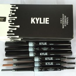 Wholesale Newest Makeup NEW KYLIE IN Waterproof Eyebrow Pencil Makeup Skinny Brow Pencil g DOuble ended with eyebrow brush Color DHL MR020