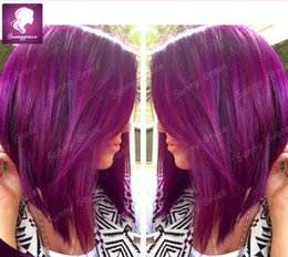 Purple Full Lace Wig Straight Indian Human Hair Lace Front Wig Glueless Full Lace Wig With Baby Hair For Black Women In Stock