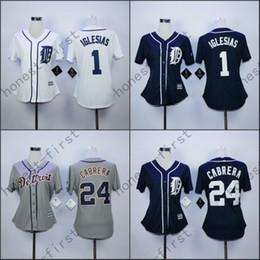 2016 New 24 Miguel Cabrera Womens Jersey Detroit Tigers Girls 1 Jose Iglesias Ladies Jersey Mesh White Black Grey Top Quality