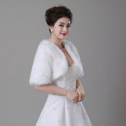 Real Photo Wedding Bolero Wraps With Half Sleeves Whtie   Ivory Faux Fur Bridal Jacket In Stock Cheap Bride Coat   Cape   Shawl   Shrug