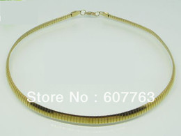 "6MM Width 316L Stainless Steel 18K Gold Plated Plating Choker Chain Necklace 16"",18"" Inches or 40CM,45CM Length Available"