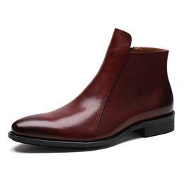 Descuento botas altas de tacón hombres señalaron dedos de los pies Botas de tacón alto con estilo del cuero genuino del alto-Top de los hombres Señoras del dedo del pie del diseñador de los hombres italianos del vaquero de los hombres Zapatos