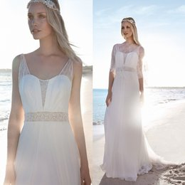 Rembo Styling Beach Wedding Dresses With Lace Jacket Sweetheart Neck Cheap Bridal Gowns A-Line Floor Length Chiffon Wedding Dress