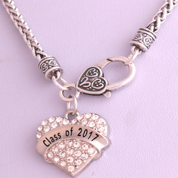 Drop Shipping New Arrival rhodium plated zinc studded with sparkling crystals CLASS OF 2017 heart pendant wheat chain necklace
