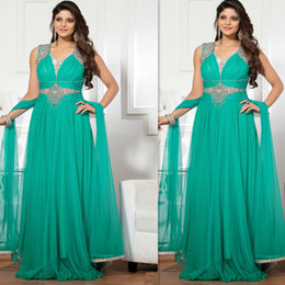 Indian Prom Dresses 2016 Turquoise Green Plus size Evening Gowns Long Chiffon Beaded Special Occasions Dress For Fat Women Free Shipping