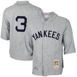 Wholesale NY Yankees Babe Ruth White Gray Cooperstown Collection Mens Throwback New York Baseball Jerseys Cheap From China