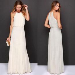 Wholesale Chiffon Sleeveless O Neck Long Elegant bohemi long chiffon Dresses Summer Beach Wedding Party Plus Size Evening Dress