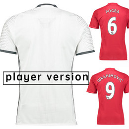 Wholesale 2017 Player Version Soccer Jersey Home Red Away White Manchester Soccer Jerseys Rooney Pogba Thai Quality Football Jeresys