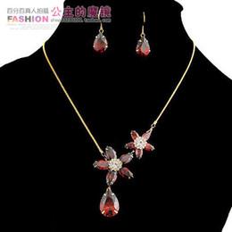 red zircon stone flower set necklace earings (ming) jtggh