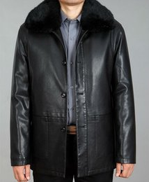 Wholesale Fall winter new leather leather men long section of thick padded sheepskin jacket big yards M XL