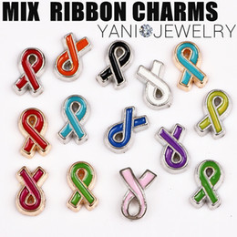 Wholesale Mix Colors Enamel Ribbon Cancer Charms Pendants Alloy Floating Locket Charms for Bracelet Glass locket Necklaces